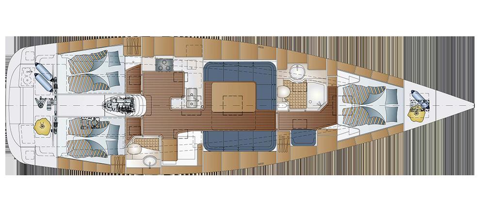 Yachten von innen  Comfortina 46 - Comfortina